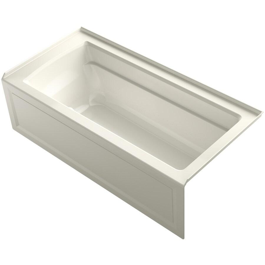KOHLER Archer 66-in L x 32-in W x 19-in H Biscuit Acrylic Rectangular Alcove Air Bath