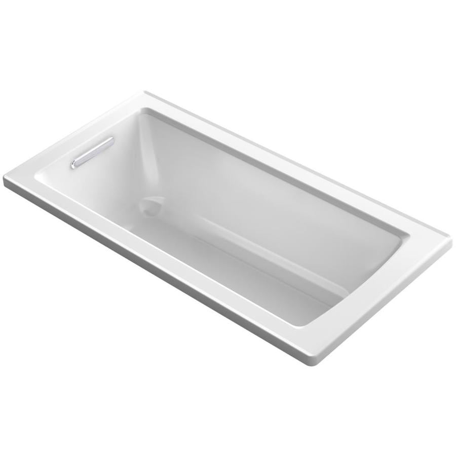 KOHLER Archer White Acrylic Rectangular Drop-in Bathtub with Reversible Drain (Common: 30-in x 60-in; Actual: 20.25-in x 30-in x 60-in)
