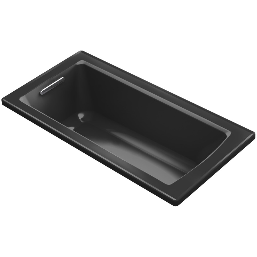 KOHLER Archer Black Acrylic Rectangular Drop-in Bathtub with Reversible Drain (Common: 30-in x 60-in; Actual: 19-in x 30-in x 60-in)