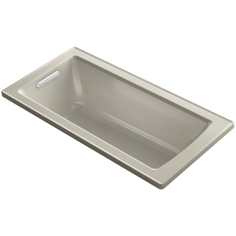 KOHLER Archer Sandbar Acrylic Rectangular Drop-in Bathtub with Reversible Drain (Common: 30-in x 60-in; Actual: 19-in x 30-in x 60-in)