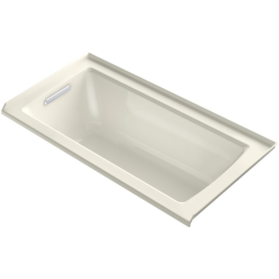 KOHLER Archer Biscuit Acrylic Rectangular Alcove Bathtub with Left-Hand Drain (Common: 30-in x 60-in; Actual: 19-in x 30-in x 60-in)