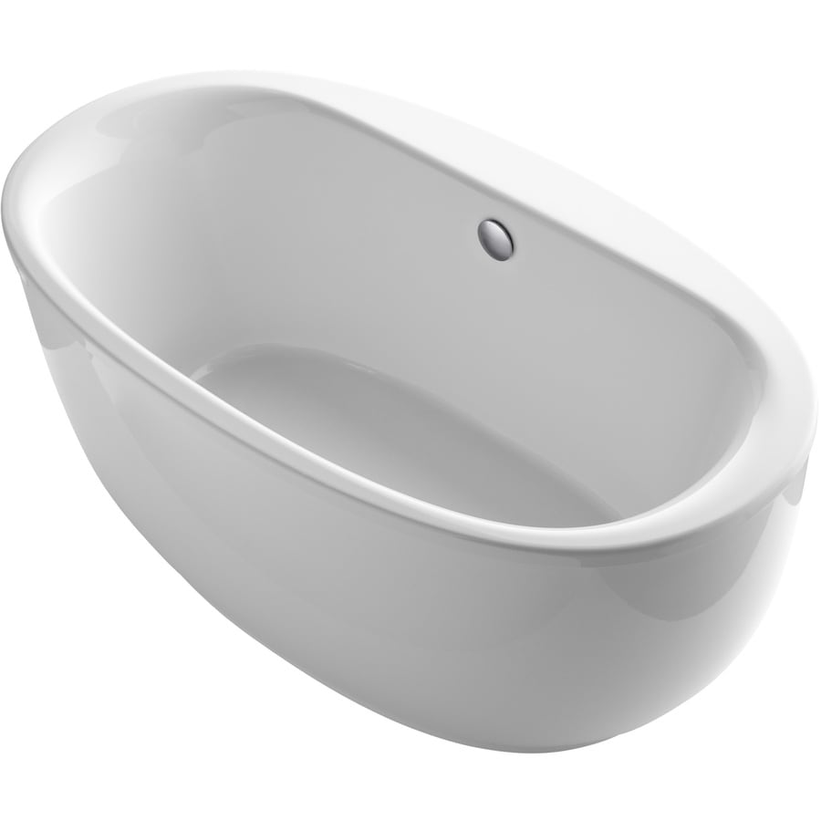 KOHLER Sunstruck White Acrylic Oval Freestanding Bathtub with Center Drain (Common: 36-in x 66-in; Actual: 25.75-in x 36-in x 66-in)