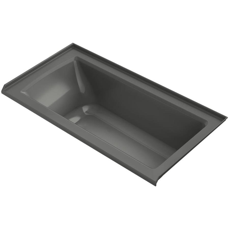 KOHLER Archer Thunder Grey Acrylic Rectangular Alcove Bathtub with Right-Hand Drain (Common: 30-in x 60-in; Actual: 20.25-in x 30-in x 60-in)