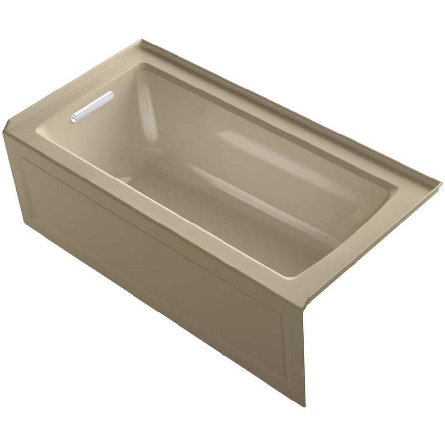 KOHLER Archer Mexican Sand Acrylic Rectangular Alcove Whirlpool Tub (Common: 30-in x 60-in; Actual: 20.25-in x 30-in)