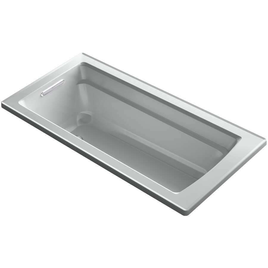 KOHLER Archer Ice Grey Acrylic Rectangular Drop-in Whirlpool Tub (Common: 32-in x 66-in; Actual: 19-in x 32-in)