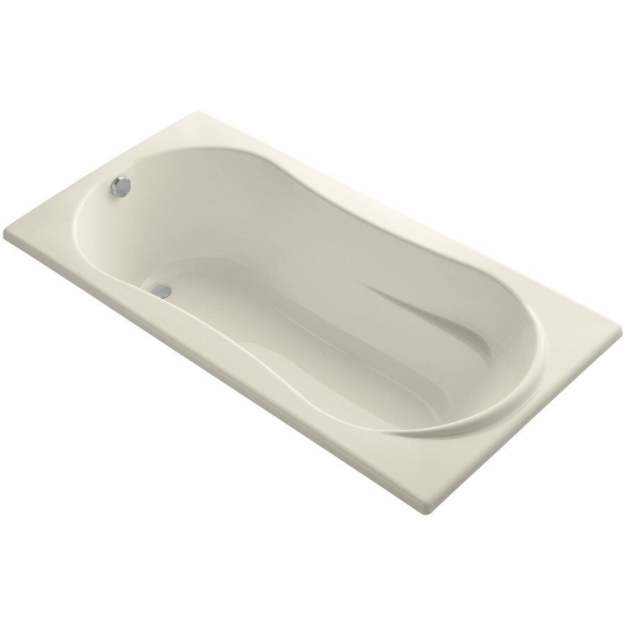 KOHLER ProFlex Almond Acrylic Hourglass In Rectangle Drop-in Bathtub with Reversible Drain (Common: 36-in x 72-in; Actual: 20.13-in x 36-in x 72-in)