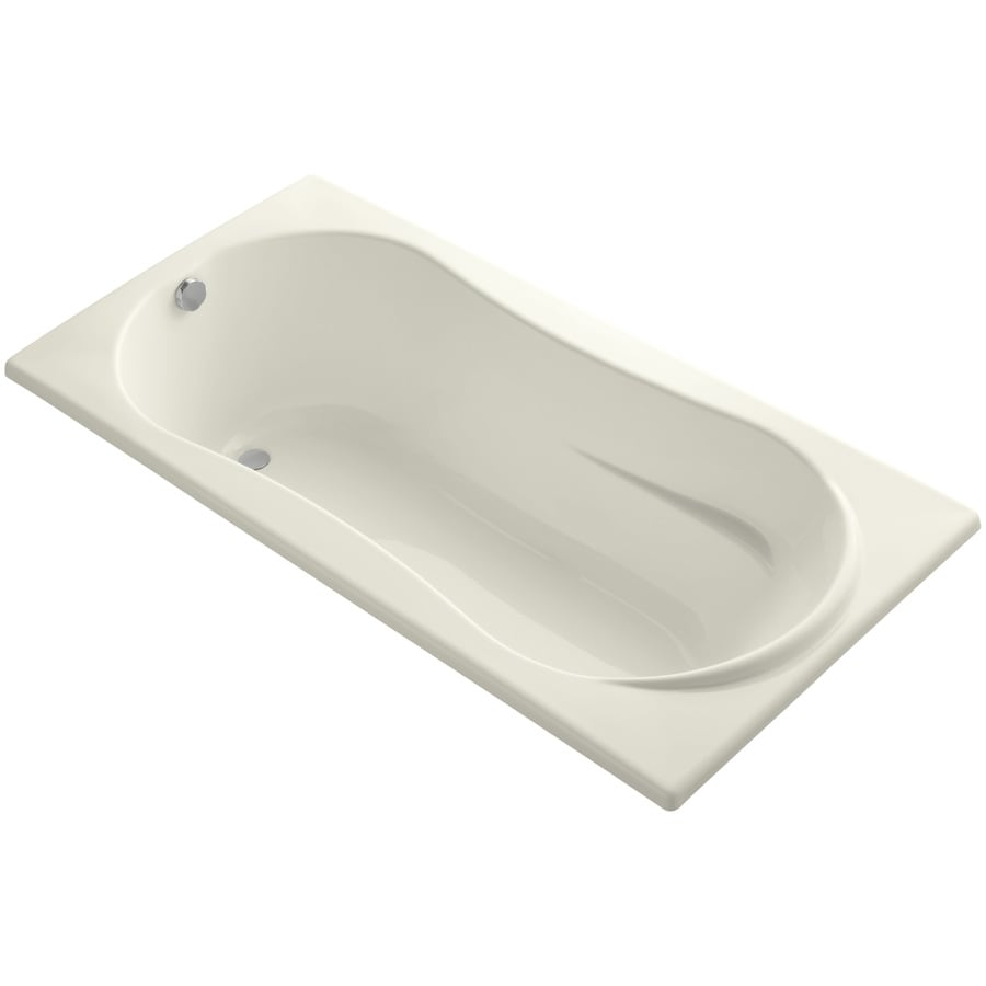 KOHLER ProFlex Biscuit Acrylic Hourglass In Rectangle Drop-in Bathtub with Reversible Drain (Common: 36-in x 72-in; Actual: 20.13-in x 36-in x 72-in)