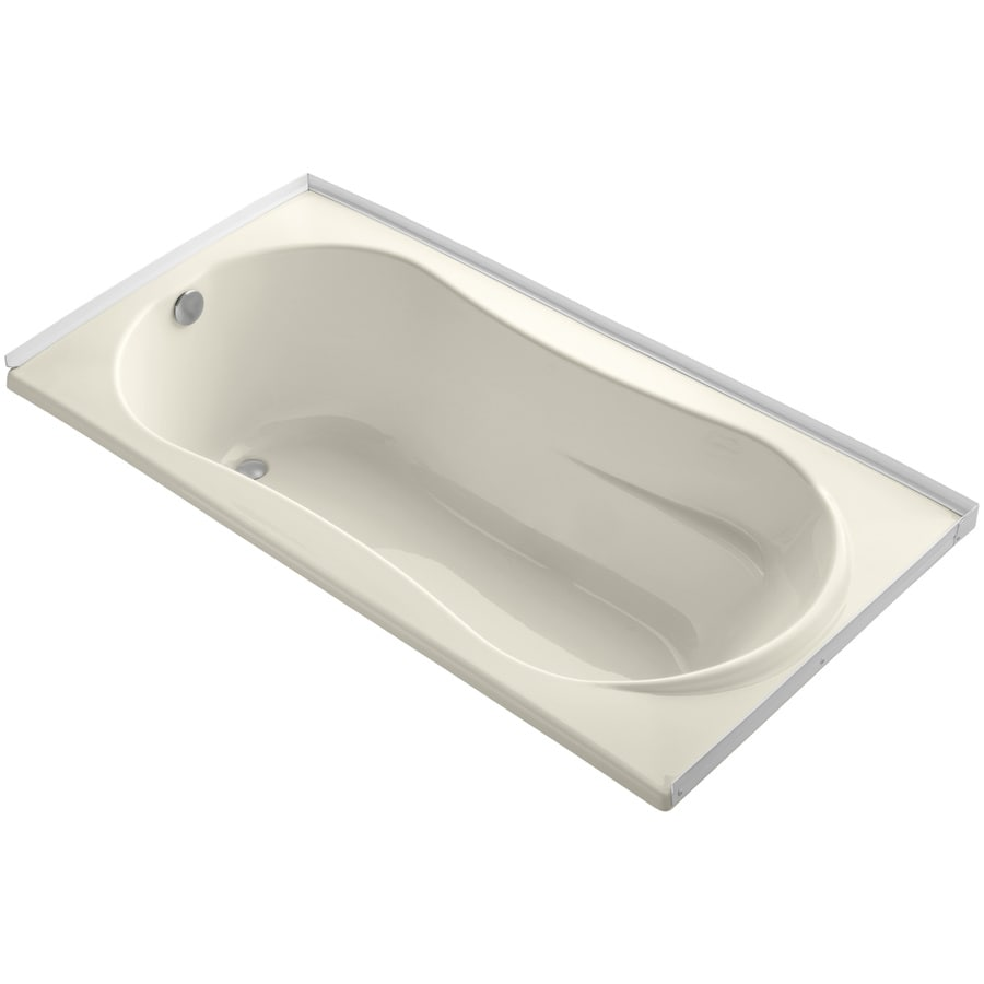 KOHLER ProFlex Almond Acrylic Hourglass in Rectangle Drop-in Bathtub with Left-Hand Drain (Common: 36-in x 72-in; Actual: 20.13-in x 36-in x 72-in)