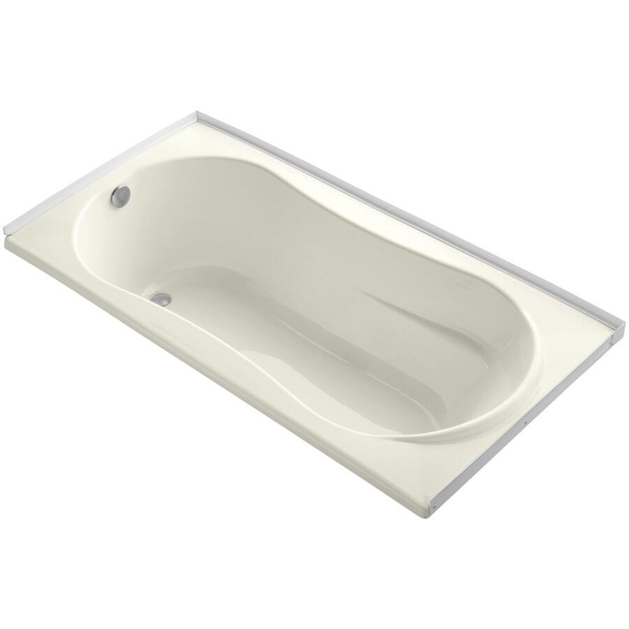 KOHLER ProFlex Biscuit Acrylic Hourglass In Rectangle Drop-in Bathtub with Left-Hand Drain (Common: 36-in x 72-in; Actual: 20.13-in x 36-in x 72-in)