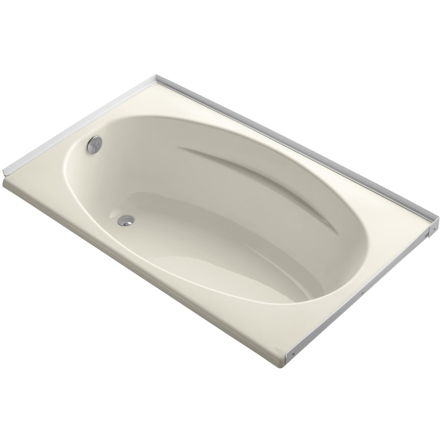 KOHLER ProFlex Almond Acrylic Oval In Rectangle Drop-in Bathtub with Left-Hand Drain (Common: 36-in x 60-in; Actual: 18.13-in x 36-in x 60-in)