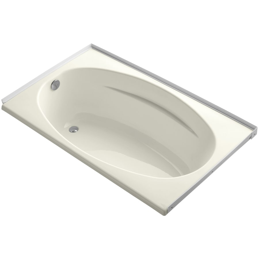 KOHLER ProFlex Biscuit Acrylic Oval In Rectangle Drop-in Bathtub with Left-Hand Drain (Common: 36-in x 60-in; Actual: 18.13-in x 36-in x 60-in)