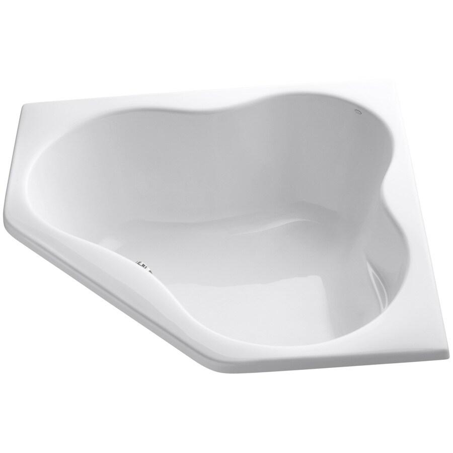 KOHLER ProFlex White Acrylic Corner Drop-in Bathtub with Center Drain (Common: 54-in x 54-in; Actual: 20.5-in x 54-in x 54-in)