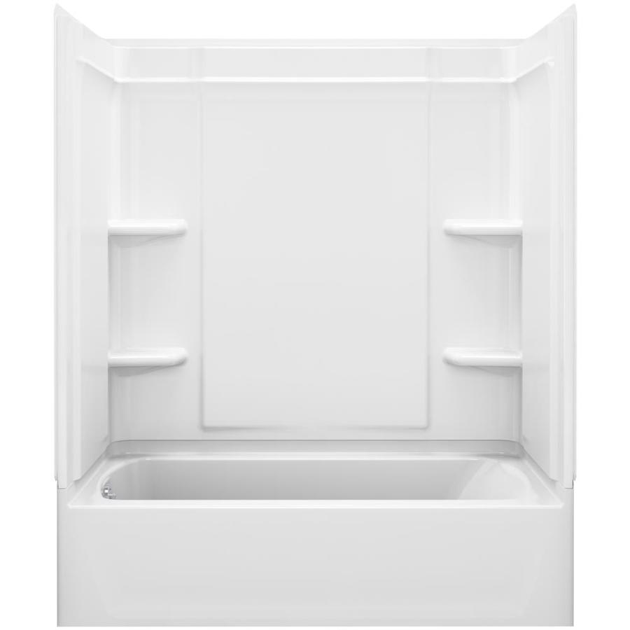Sterling Ensemble White Vikrell Wall and Floor 4-Piece Alcove Shower Kit with Bathtub (Common: 60-in x 30-in; Actual: 73-in x 60.25-in x 31.25-in)