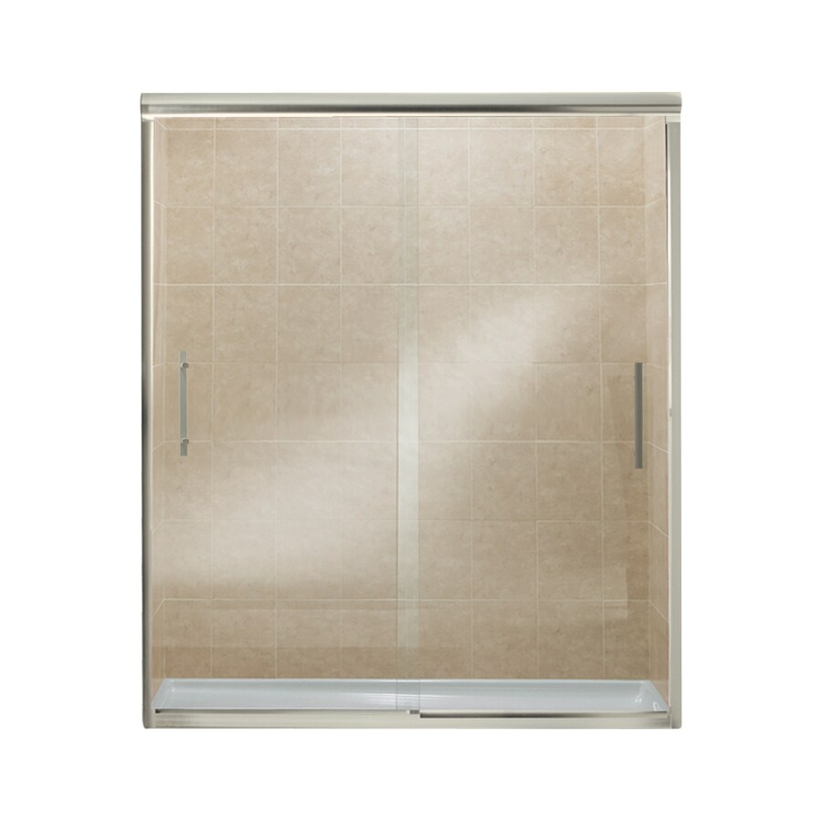 Sterling Finesse 44.625-in to 59.625-in W x 70.0625-in H Brushed Nickel Sliding Shower Door