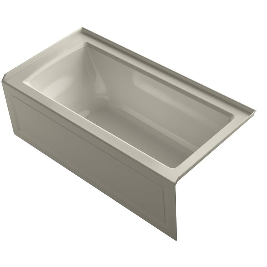 KOHLER Archer Sandbar Acrylic Rectangular Alcove Whirlpool Tub (Common: 30-in x 60-in; Actual: 20.25-in x 30-in)