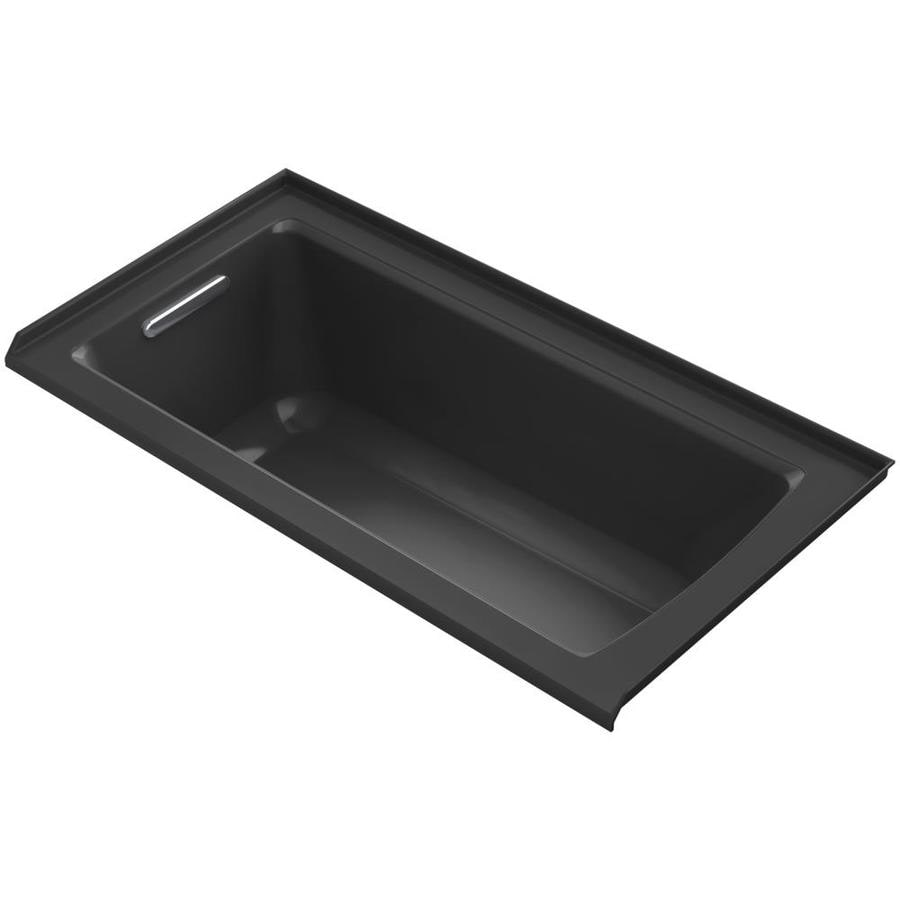 KOHLER Archer Black Acrylic Rectangular Alcove Bathtub with Left-Hand Drain (Common: 30-in x 60-in; Actual: 20-in x 30-in x 60-in)