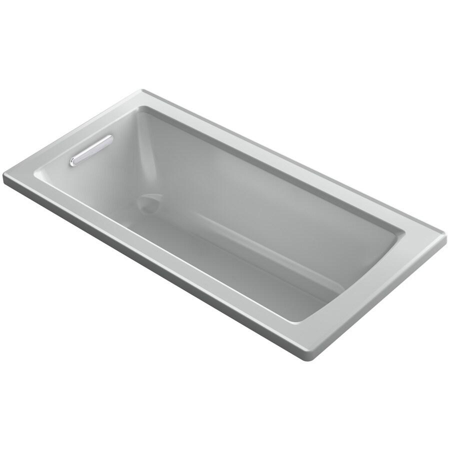 KOHLER Archer Ice Grey Acrylic Rectangular Drop-in Bathtub with Reversible Drain (Common: 30-in x 60-in; Actual: 19-in x 30-in x 60-in)