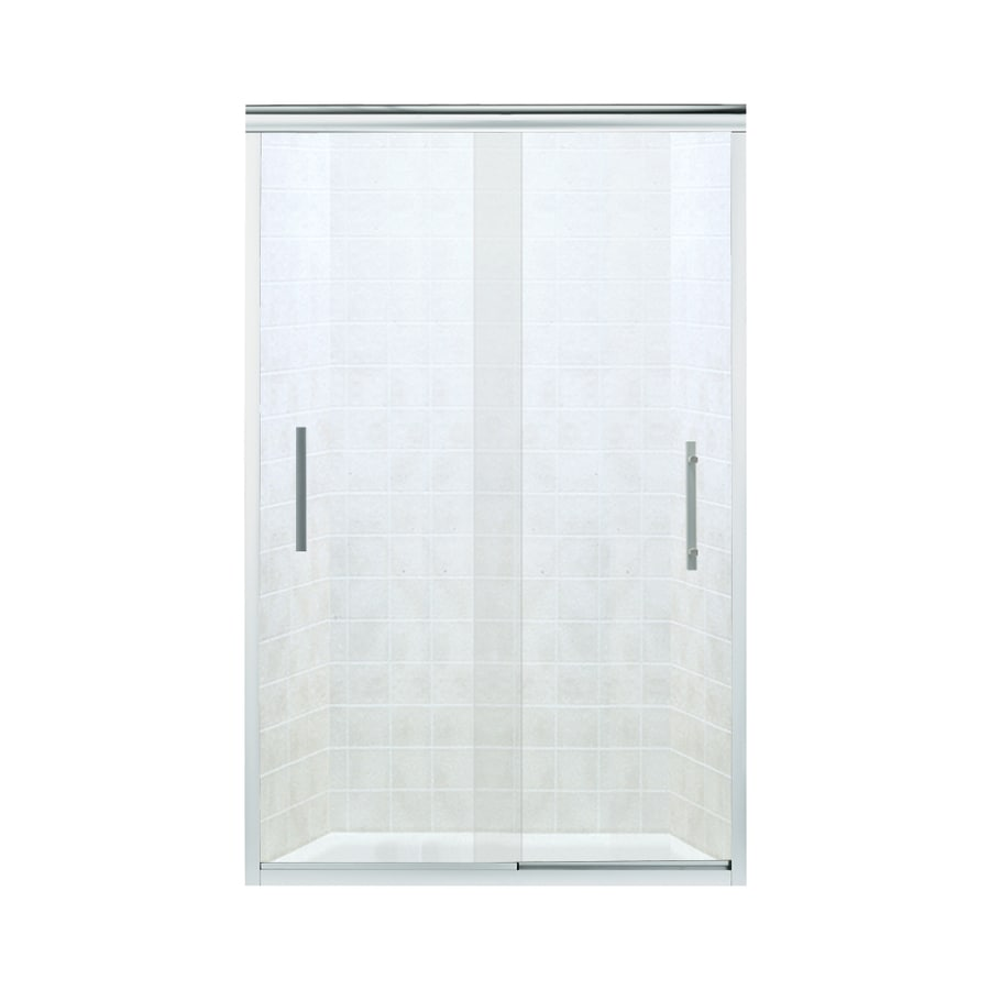 Sterling Finesse 44.625-in to 47.625-in W x 70.0625-in H Silver Sliding Shower Door