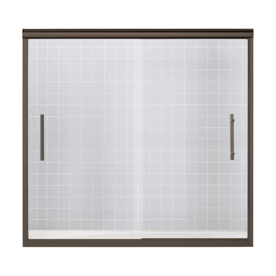Sterling Finesse 56.625-in to 59.625-in W x 55.5-in H Deep Bronze Sliding Shower Door