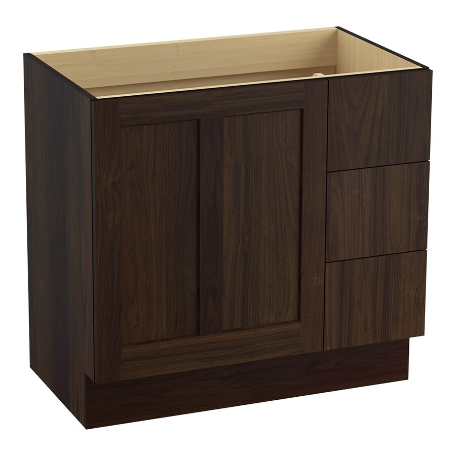 KOHLER Poplin Ramie Walnut Traditional Bathroom Vanity (Common: 36-in x 22-in; Actual: 36-in x 21.875-in)