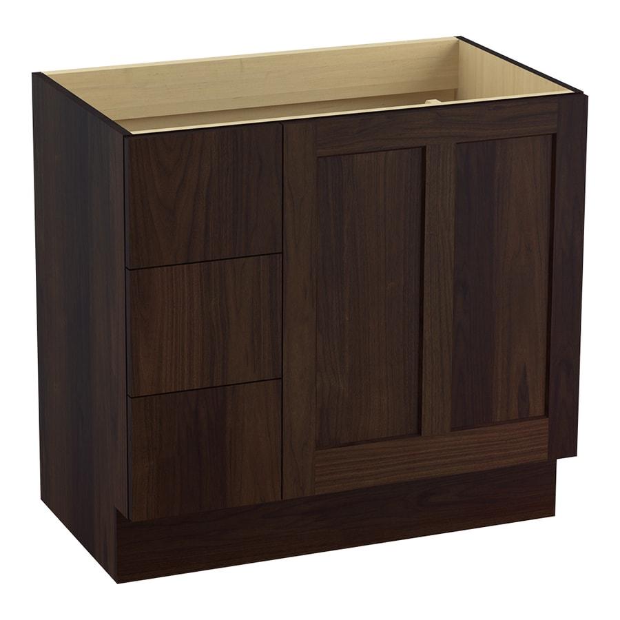 KOHLER Poplin Ramie Walnut Traditional Bathroom Vanity (Common: 36-in x 22-in; Actual: 36-in x 21.875-in)