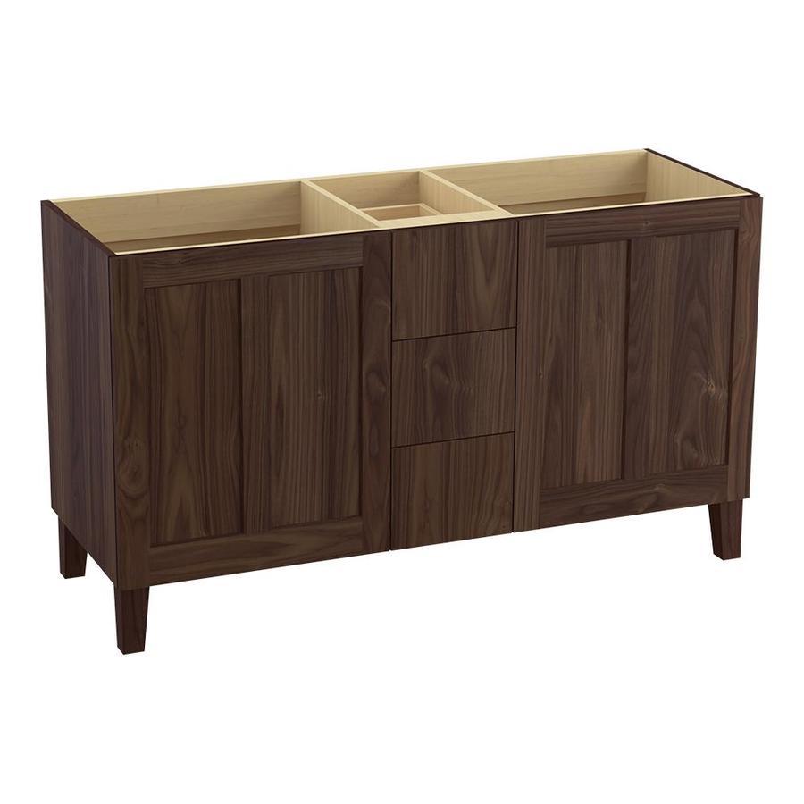 KOHLER Poplin Terry Walnut Traditional Bathroom Vanity (Common: 60-in x 22-in; Actual: 60-in x 21.875-in)