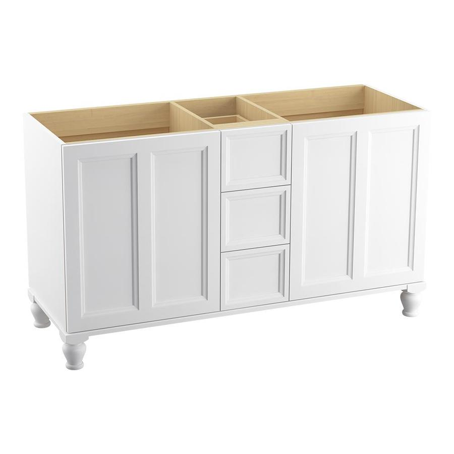 KOHLER Damask Linen White Traditional Bathroom Vanity (Common: 60-in x 22-in; Actual: 60-in x 21.875-in)