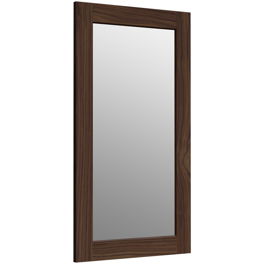 KOHLER Poplin 20.5-in W x 35.5-in H Terry Walnut Rectangular Bathroom Mirror