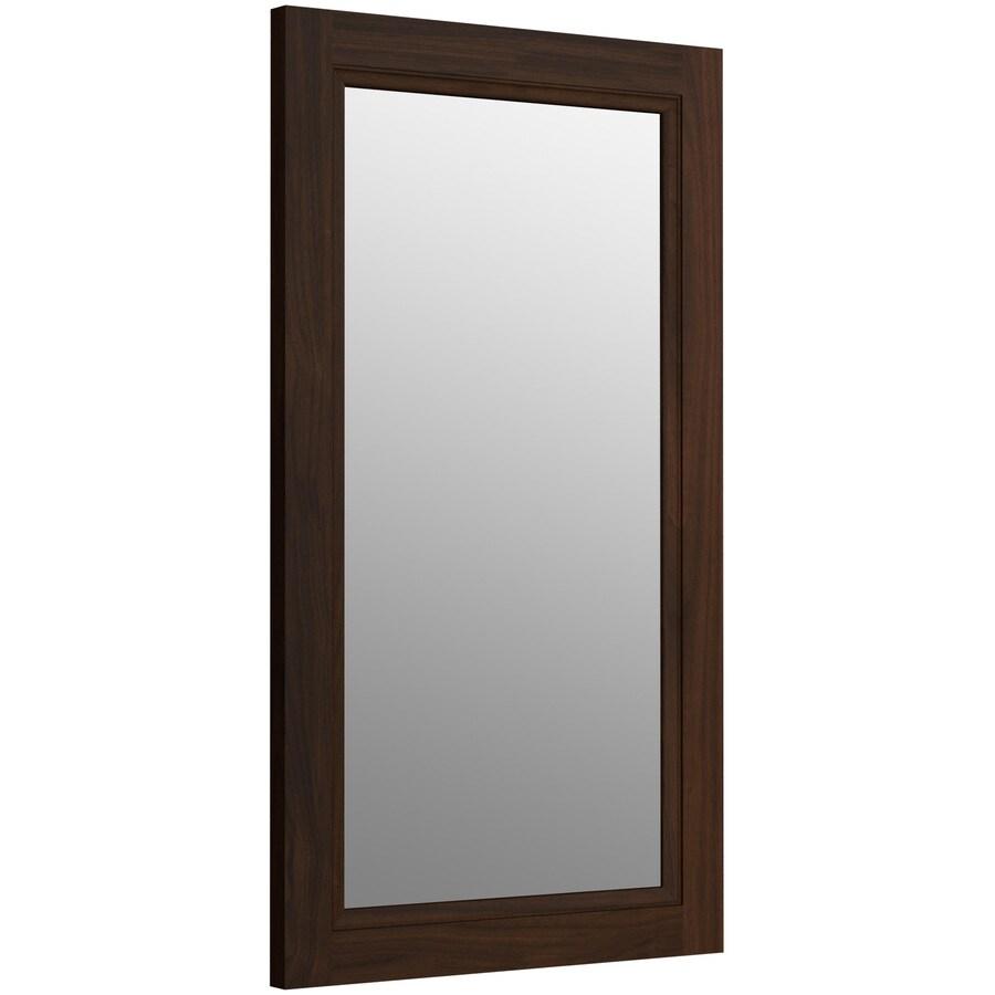 KOHLER Damask 21.75-in W x 36.75-in H Ramie Walnut Rectangular Bathroom Mirror