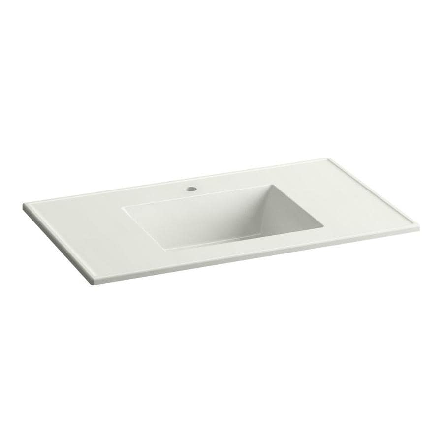 KOHLER Ceramic/Impressions Dune Impressions Vitreous China Integral Bathroom Vanity Top (Common: 37-in x 22-in; Actual: 37-in x 22.375-in)