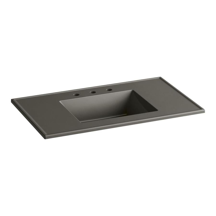KOHLER Ceramic/Impressions Cashmere Impressions Vitreous China Integral Bathroom Vanity Top (Common: 37-in x 22-in; Actual: 37-in x 22.375-in)