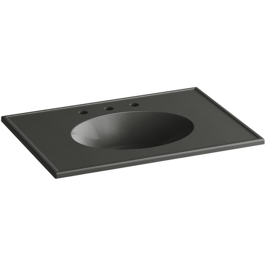 KOHLER Ceramic/Impressions Thunder Grey Impressions Vitreous China Integral Bathroom Vanity Top (Common: 31-in x 23-in; Actual: 31-in x 22.375-in)