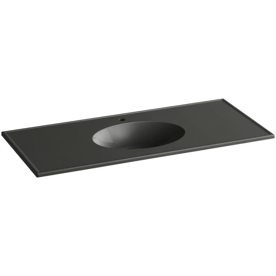 KOHLER Ceramic/Impressions Thunder Grey Impressions Vitreous China Integral Bathroom Vanity Top (Common: 49-in x 23-in; Actual: 49-in x 22.375-in)