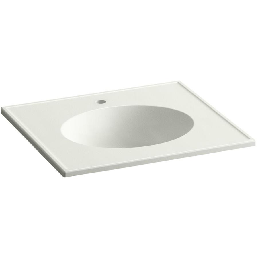KOHLER Ceramic/Impressions Dune Impressions Vitreous China Integral Bathroom Vanity Top (Common: 25-in x 23-in; Actual: 25-in x 22.375-in)