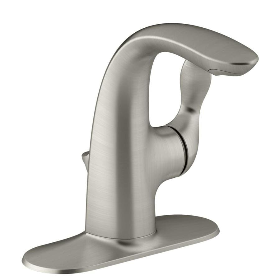 KOHLER Refinia Vibrant Brushed Nickel 1-Handle Single Hole/4-in Centerset WaterSense Bathroom Faucet (Drain Included)