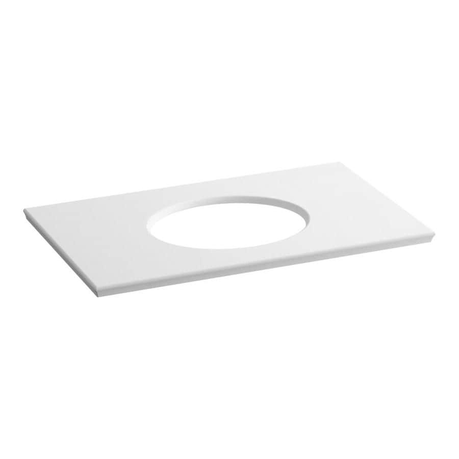 KOHLER Solid/Expressions White Expressions Solid Surface Sink Sold Separately Bathroom Vanity Top (Common: 37-in x 23-in; Actual: 37.625-in x 22.8125-in)