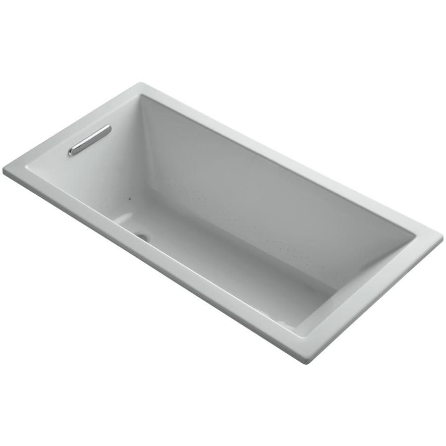KOHLER Underscore 60-in L x 30-in W x 19-in H Ice Grey Acrylic Rectangular Drop-In Air Bath