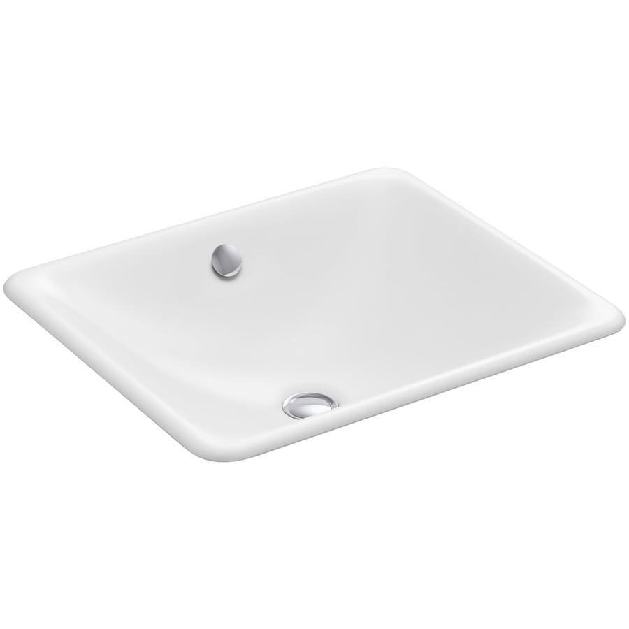 KOHLER Iron Plains White Cast Iron Drop-in or Undermount Rectangular Bathroom Sink with Overflow