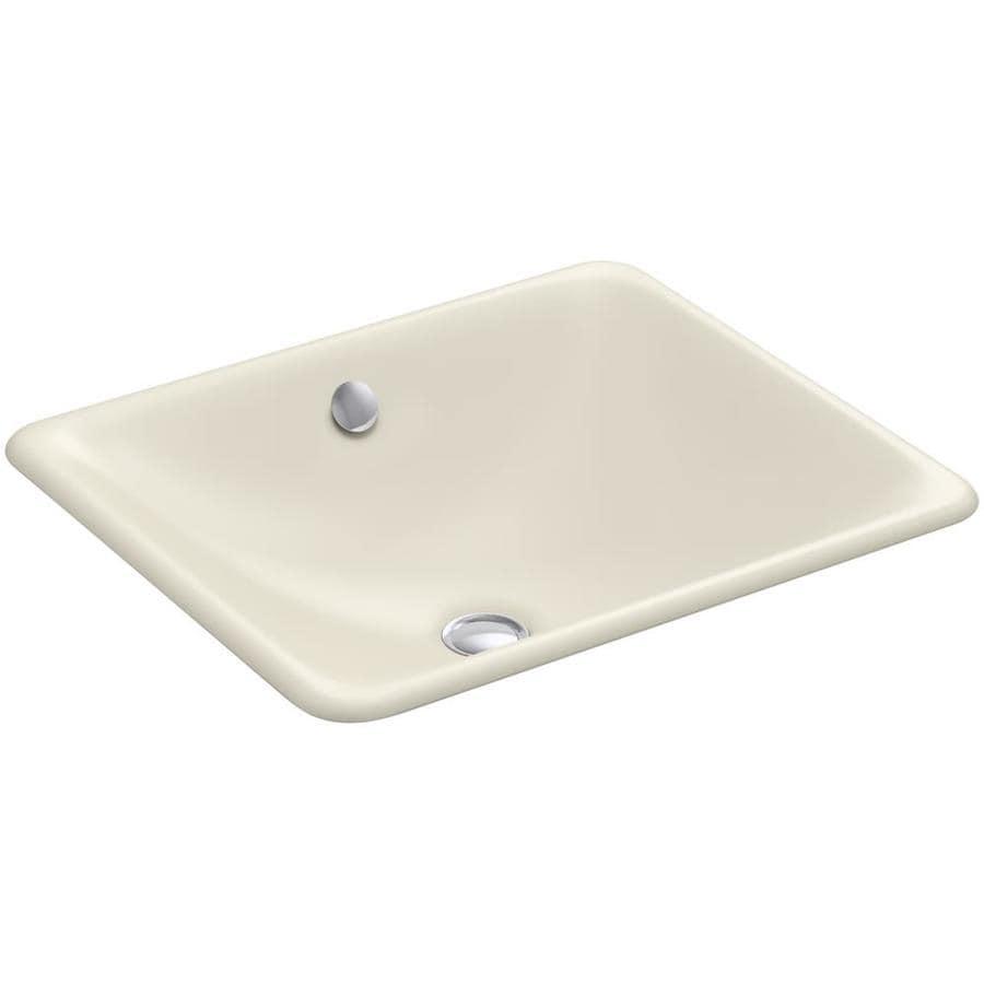 KOHLER Iron Plains Almond Cast Iron Drop-in or Undermount Rectangular Bathroom Sink with Overflow