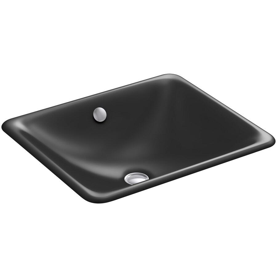 KOHLER Iron Plains Black Cast Iron Undermount Rectangular Bathroom Sink