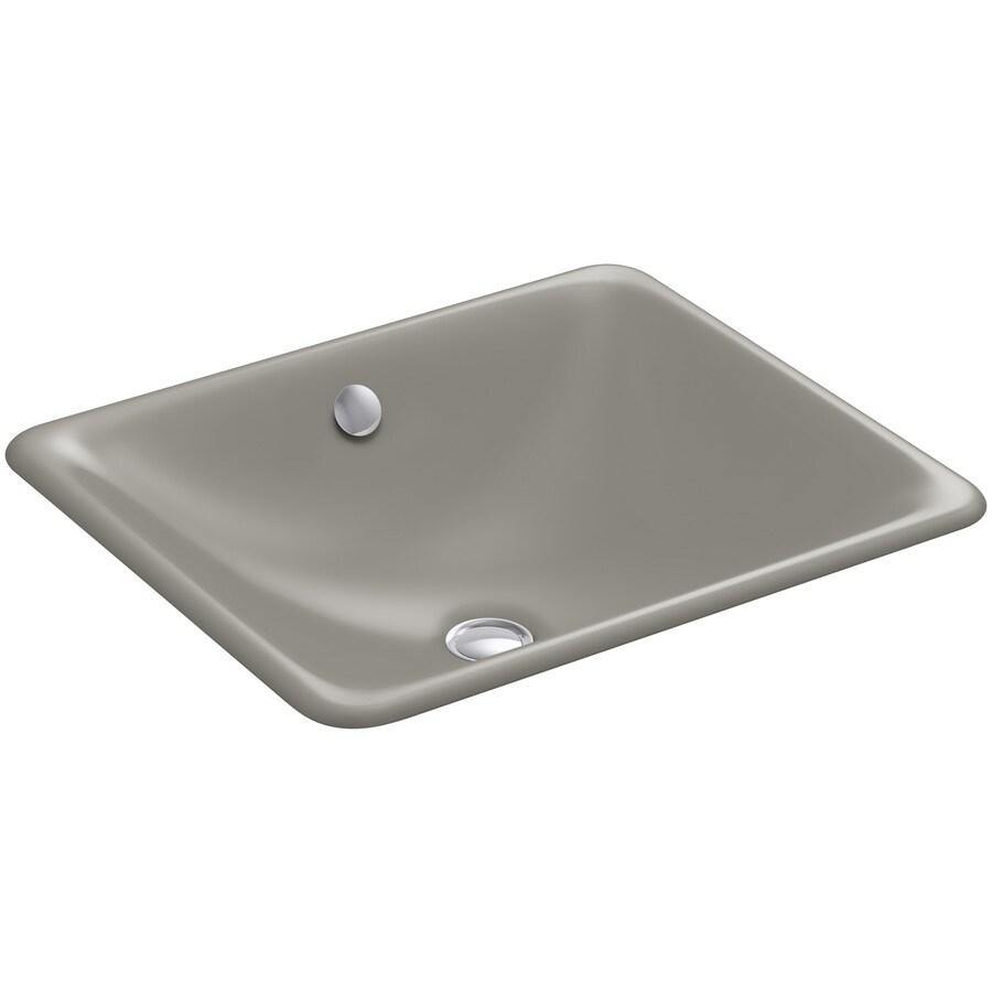 KOHLER Iron Plains Black and Tan Cast Iron Undermount Rectangular Bathroom Sink