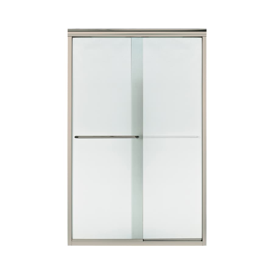 Sterling Finesse 44-in to 45.5-in W x 70.3125-in H Brushed Nickel Sliding Shower Door