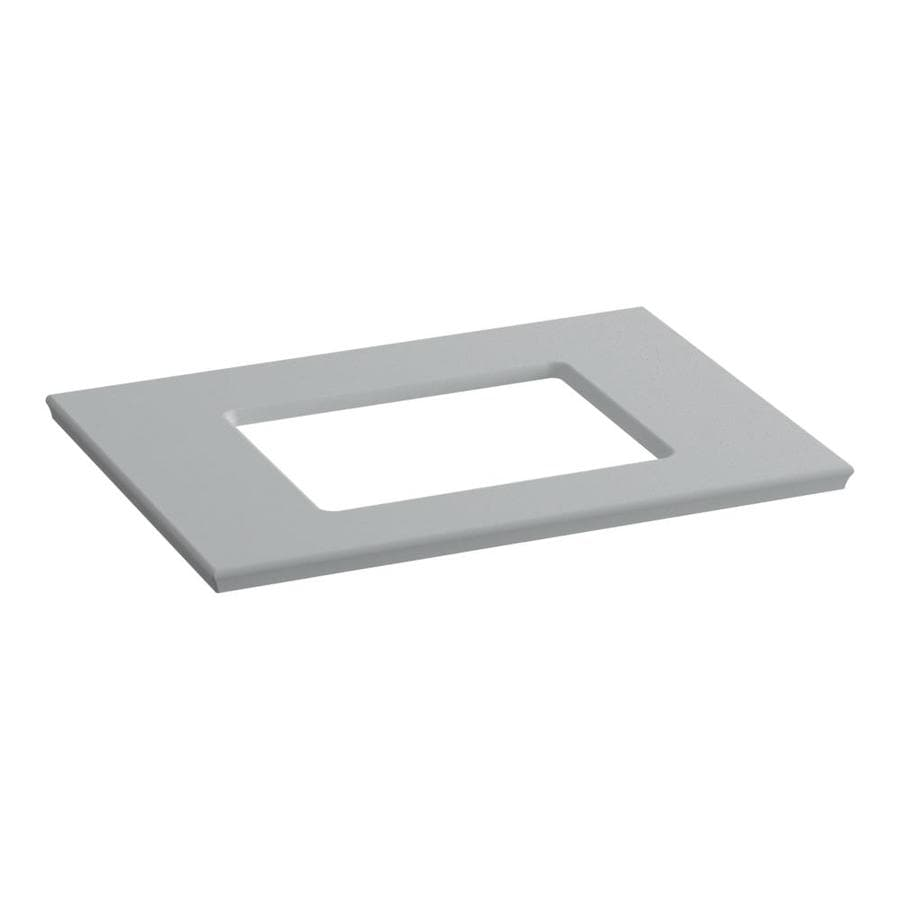 KOHLER Solid/Expressions Ice Grey Expressions Solid Surface Sink Sold Separately Bathroom Vanity Top (Common: 31-in x 23-in; Actual: 31.625-in x 22.8125-in)