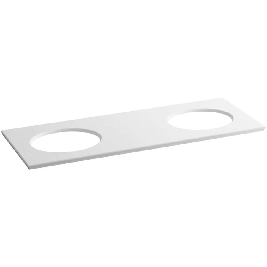 KOHLER Solid/Expressions White Expressions Solid Surface Sink Sold Separately Bathroom Vanity Top (Common: 61-in x 23-in; Actual: 61.625-in x 22.8125-in)
