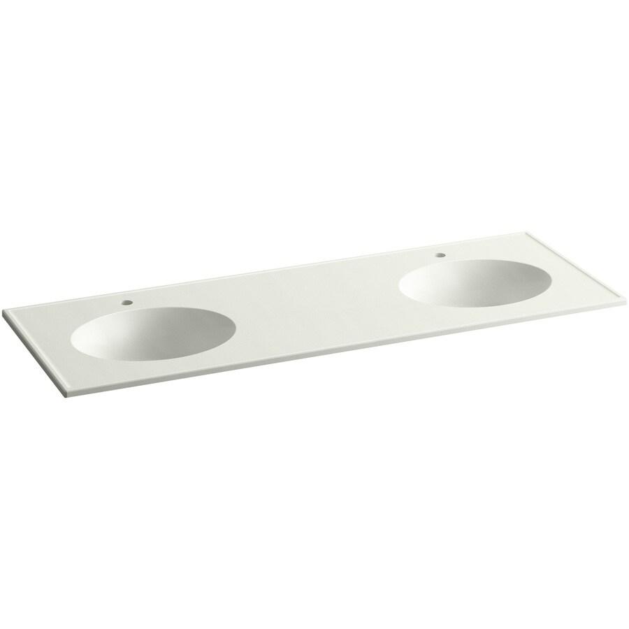KOHLER Ceramic/Impressions Dune Impressions Vitreous China Integral Bathroom Vanity Top (Common: 61-in x 23-in; Actual: 61-in x 22.375-in)