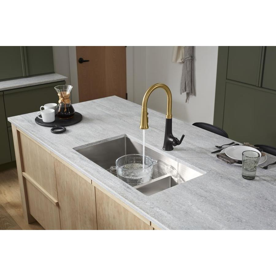 KOHLER Strive 18.31-in x 32-in Stainless Steel Double-Basin Undermount Residential Kitchen Sink