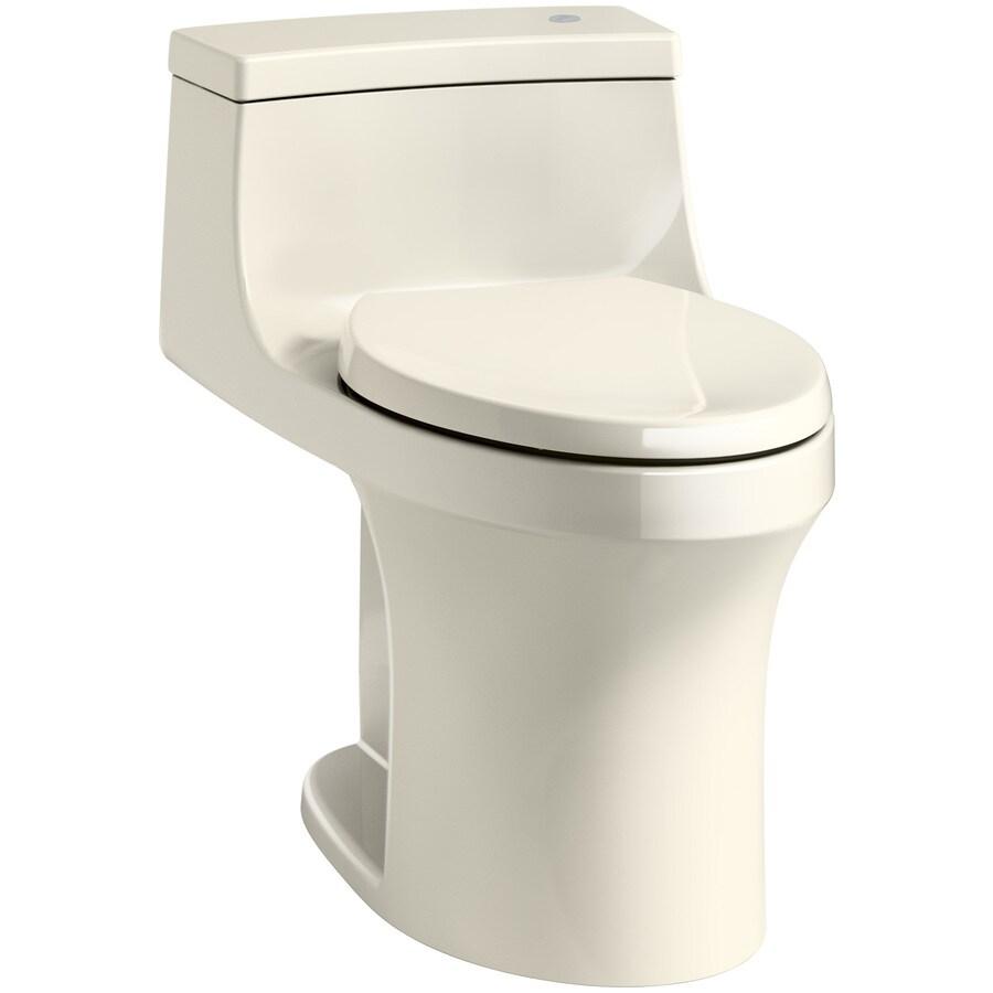 KOHLER San Souci Almond 1.28-GPF (4.85-LPF) 12 Rough-In WaterSense Elongated 1-Piece Chair Height Rear Outlet Toilet