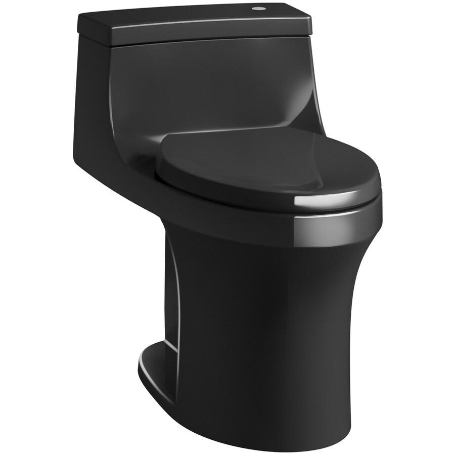 KOHLER San Souci Black Black 1.28-GPF (4.85-LPF) 12 Rough-In WaterSense Elongated 1-Piece Chair Height Rear Outlet Toilet