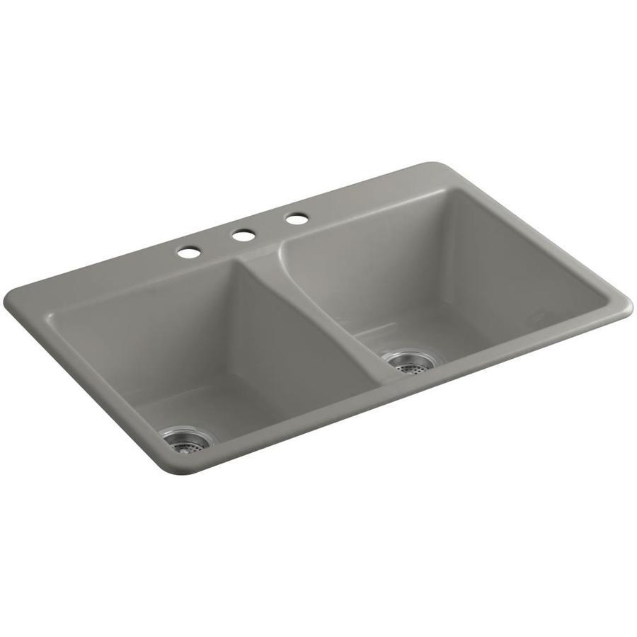 KOHLER Deerfield 22-in x 33-in Cashmere Double-Basin Cast Iron Undermount 3-Hole Residential Kitchen Sink