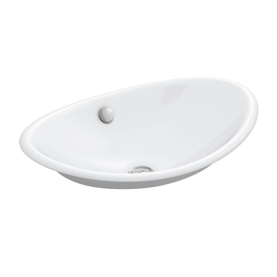 KOHLER Iron Plains White Cast Iron Vessel Oval Bathroom Sink with Overflow